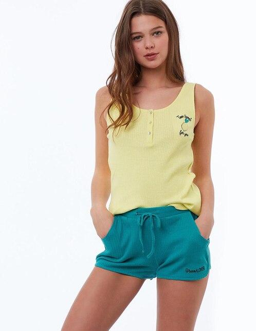 Playera pijama acanalada ETAM Lemon algodón amarillo claro 3c0009bb7081